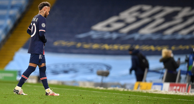 Paris Saint-Germain's Brazilian forward Neymar leaves the pitch at the final whistle during the UEFA Champions League second leg semi-final football match between Manchester City and Paris Saint-Germain (PSG) at the Etihad Stadium in Manchester, north west England, on May 4, 2021. Manchester City won the match 2-0. Paul ELLIS / AFP