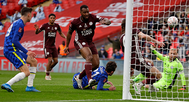 The ball ends up in the Leicester net but after a VAR (Video Assistant Referee) review the goal id disallowed for offside during the English FA Cup final football match between Chelsea and Leicester City at Wembley Stadium in north west London on May 15, 2021. Kirsty Wigglesworth / POOL / AFP