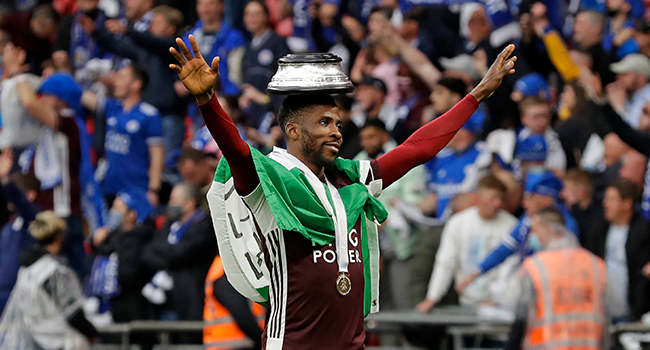 Leicester City's Nigerian striker Kelechi Iheanacho celebrates on the pitch as the Leicester players celebrate victory after the English FA Cup final football match between Chelsea and Leicester City at Wembley Stadium in north west London on May 15, 2021. Kirsty Wigglesworth / POOL / AFP